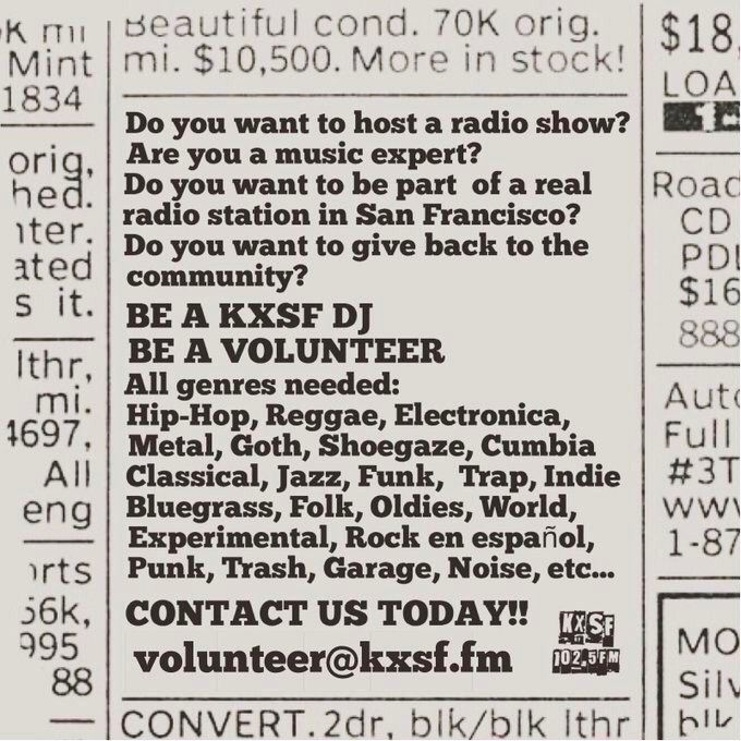 KXSF 102.5 FM needs you! If you share our passion and want to volunteer in content creation, grant writing, fundraising and more go to http://KXSF.fm and click on BECOME A VOLUNTEER. We need DJs, music hounds and technical types!  Help us keep real radio in San Franciscopic.twitter.com/VpUJxH3NQn