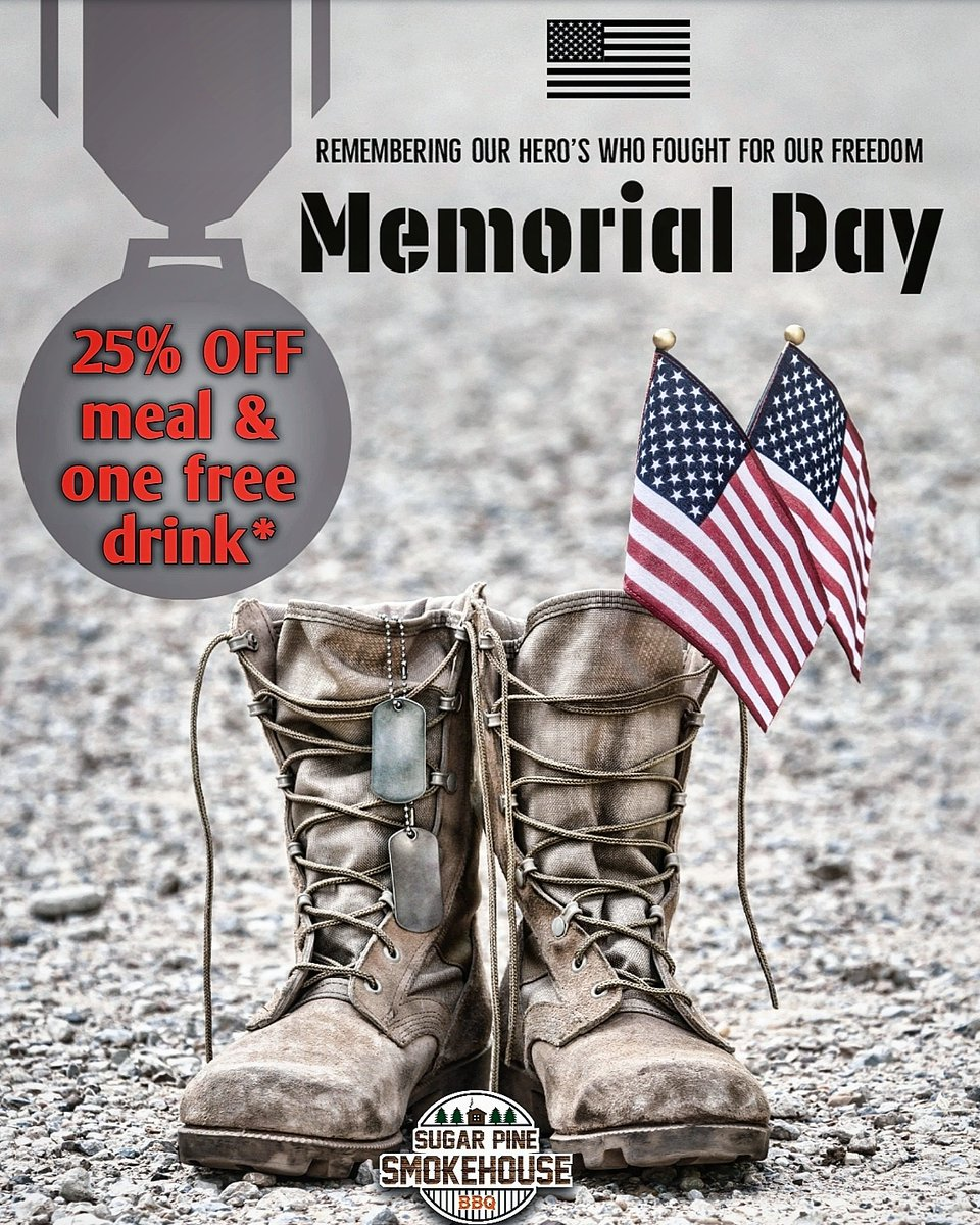*with military ID. Our way of remembering those who have fallen. #Military enjoy 25% off their meal and one fountain drink #free! #MADERA pic.twitter.com/vf3KdTUaiU