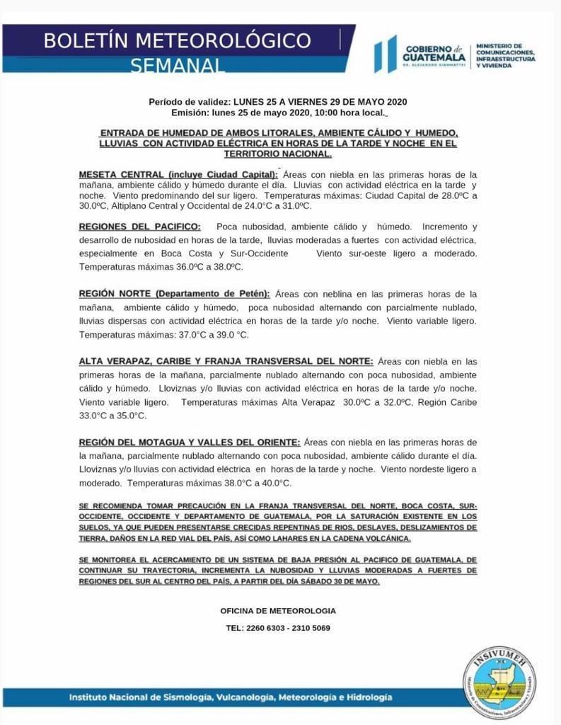 test Twitter Media - La @ConredGuatemala informa que a partir del sábado 30 de mayo se prevé un incremento de lluvias, principalmente en la regiones del sur al centro del país. https://t.co/BbECFo4bkE