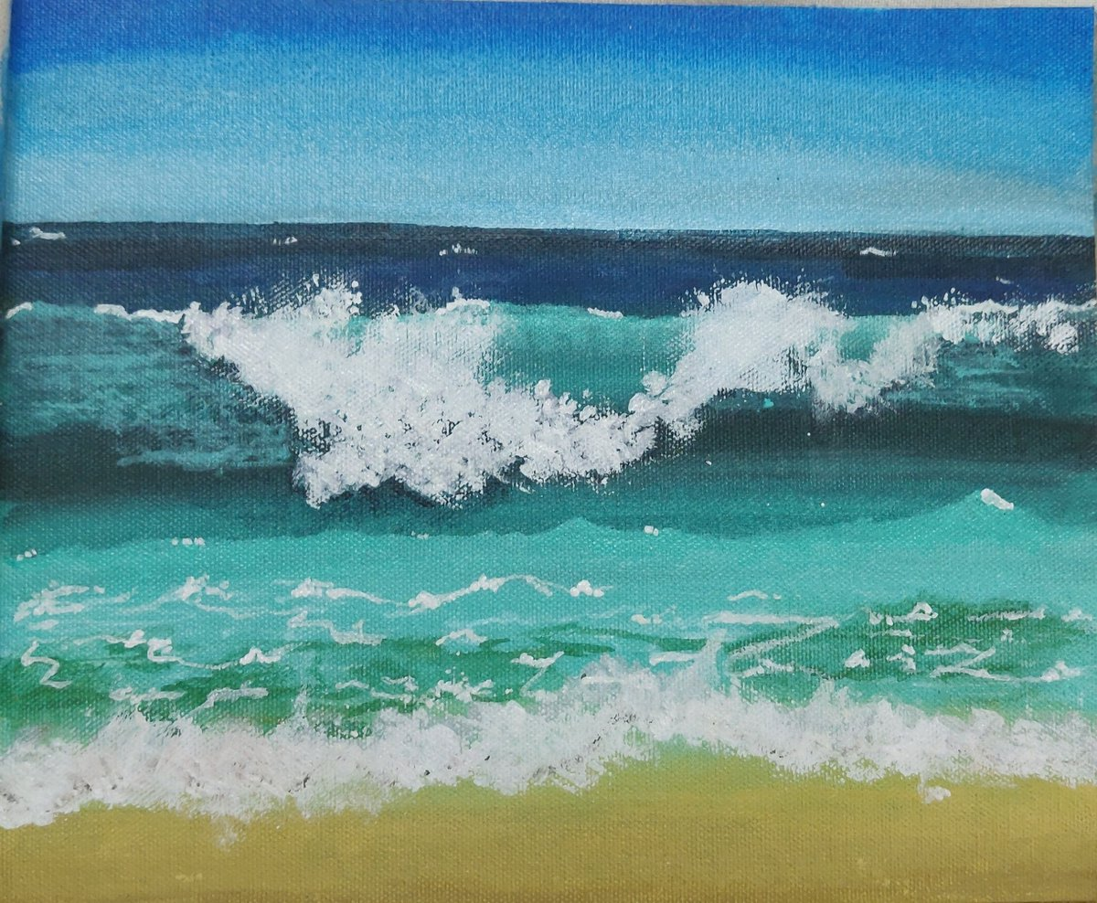 Acrylic painting #painting #acrylicpainting #wavespic.twitter.com/AQBw1xzavg