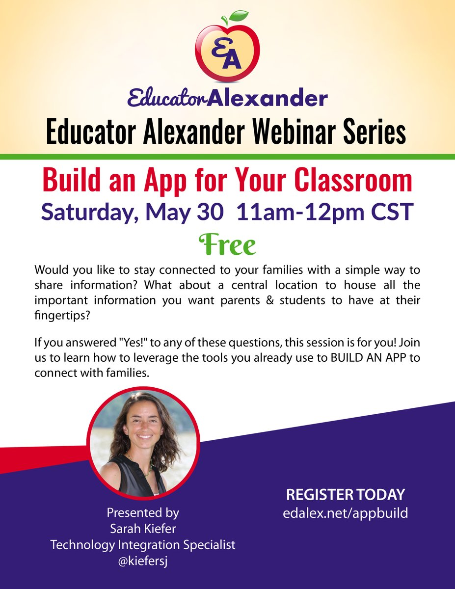 Build an App for Your Classroom  Free Webinar  THIS Saturday, May 30   11am-12pm cst  Register:  http:// edalex.net/appbuild      #GoogleET #GoogleEI #GoogleEDU #GooglePD #EDU #PD #GEG @OhioGeg #NYC19 #ISTE #TCEA #FETC #CUE #LACUE #ecet2 #LeadUpChat #edchat #education #teaching #classroom<br>http://pic.twitter.com/NJHg0HmEw1