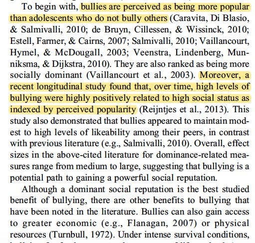 """""""bullies are perceived as being more popular than adolescents who do not bully others...high levels of bullying were highly positively related to high social status as indexed by perceived popularity"""" https://t.co/v8p1oCmsHr https://t.co/79fH4NU0sV"""
