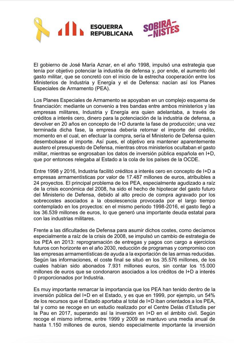 Una parte importante de las ayudas a la investigación científica en el Estado Español va a la indústria privada armamentística a la que estamos financiando de forma indirecta, hemos preguntado sobre ello al @Defensagob