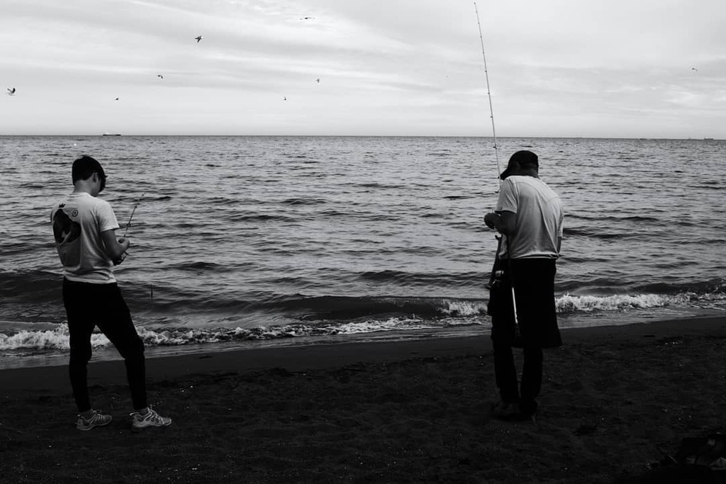 Father and son fishing. I think this is only the second time I've seen a catching being landed. . . #fatherandson #familytime #beachphotography #britishseaside #seafishing #fishing #caught #seasidetown #livingbythesea #devoncoast #monochrome #bnw #blacka… https://t.co/3DM4e9XwYW https://t.co/AbtwILCUHM
