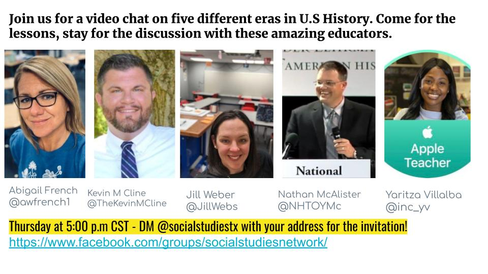 We have some amazing #socialstudies video panels lined up that you are not going to want to miss! Join us this Thursday 5/28 at 5:00 p.m CST for U.S #History with @awfrench1 @TheKevinMCline @JillWebs @NHTOYMc @inc_yv #sschat #sstlap #edchat #edchateu #crazypln #PLN #iCivicsEdNet
