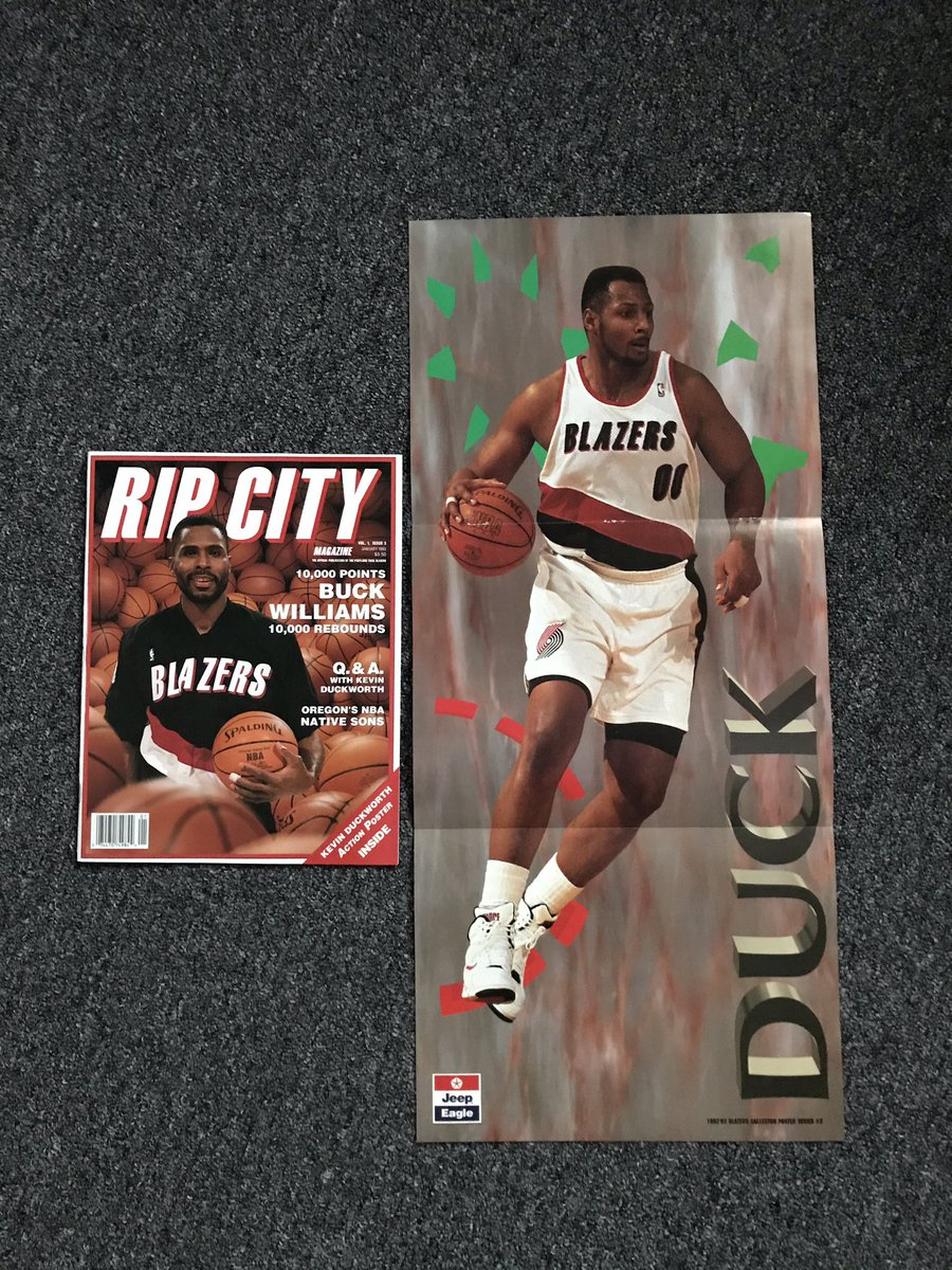 Rip City Magazine launched in the fall of 92. $10 each, includes poster.   Poster measures 24.5x11  Jan 93: Buck Cover, Duck Poster Vol 1, Issue 6: Kersey Cover, Strick poster Vol 1, Issue 7: Drexler Cover, Kersey Poster Vol 1, Issue 8: Team Cover, @UncleCliffy30 Poster https://t.co/ehUiluxwoA