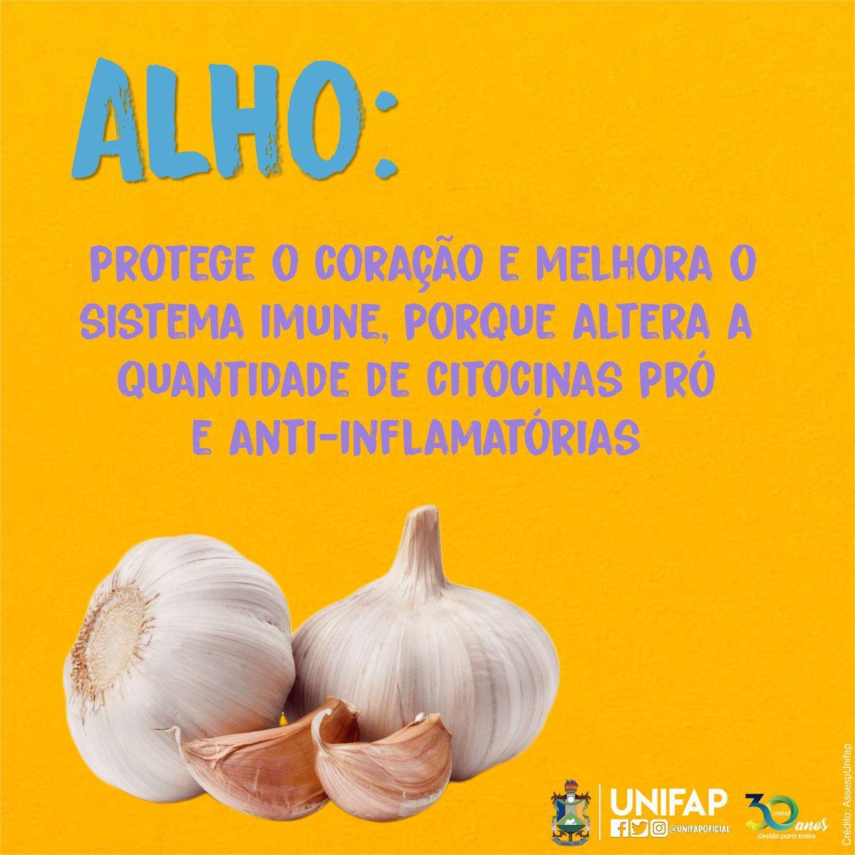 Turbine sua imunidade!  A alimentação saudável é essencial para a melhoria de qualidade de vida e fortalecimento da imunidade, a dica de hoje fala sobre os benefícios do alho. #AlimentaçãoSaudável pic.twitter.com/7VPiCfYvx7