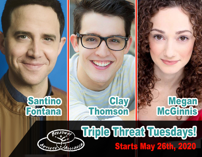 Completing our class series lineup it's TRIPLE THREAT TUESDAYS, which starts MAY 26th with TONY WINNER Santino Fontana, alongside CLAY THOMSON and the amazing MEGAN McGINNIS to show you the way into becoming a Broadway Triple Thread! Register now via:  https://www. broadwayartistsalliance.org/programs/onlin e-weekly-class-series/  … <br>http://pic.twitter.com/Rvq2HPqwq7