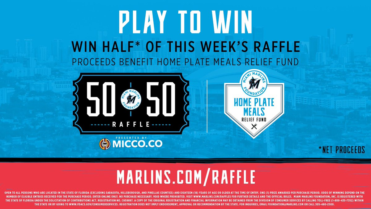 Support the Marlins Foundation 50/50 Raffle presented by @miccnationmiami through June 2nd at 9AM. Proceeds benefit the Miami Marlins Foundation Home Plate Meals Relief Fund. Visit marlins.com/raffle to play now!