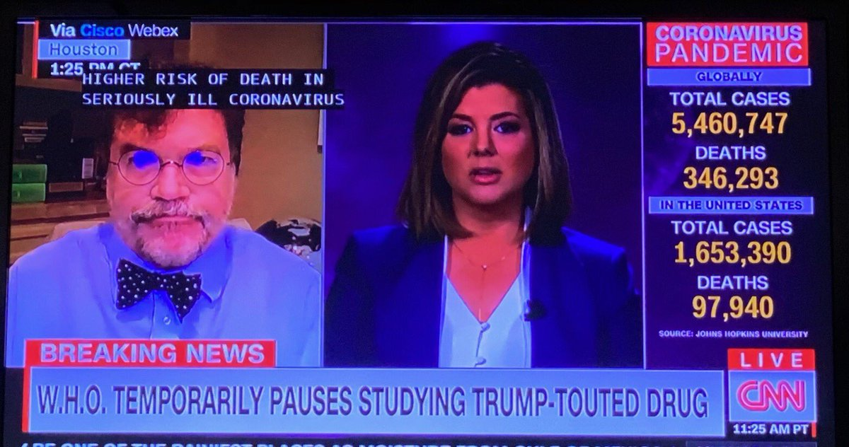 Many thanks @brikeilarcnn for hosting me today on @CNN. We discussed the suspension of the chloroquine and hydroxychloroquine arms of the @WHO's Solidarity Trial, due worsening mortality and ventricular arrhythmias published in @TheLancet last week https://t.co/WY5snec4pM