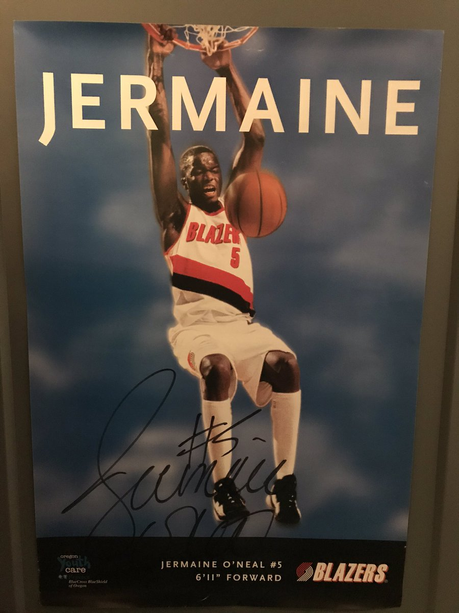 Jermaine O'Neal autographed poster, measuring 16x24 in size. I'd rate the condition 7/10 with a fantastic signature.   $30 takes it home!  #RipCity https://t.co/T96DG4icT1