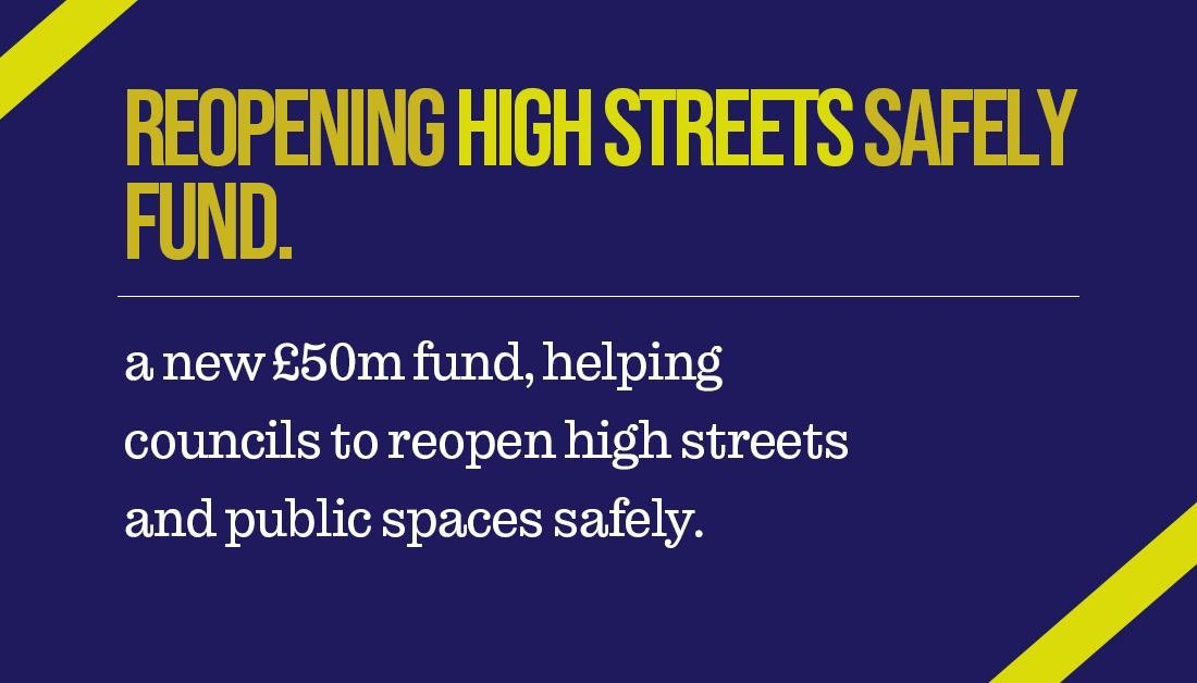As shops and businesses now prepare to reopen on 1st and 15th June, we've launched a fund to help local councils get high streets and town centres ready. 👇
