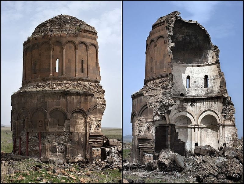 The capital of medieval Armenia, the city of Ani was a thriving center of trade and faith, survived by its haunting ruins. #photography Church of the Redeemer completed in 1035. It remained intact until 1955, when a storm collapsed half of the structure. #architecture @roldanfj1pic.twitter.com/CGrQSk1qNf
