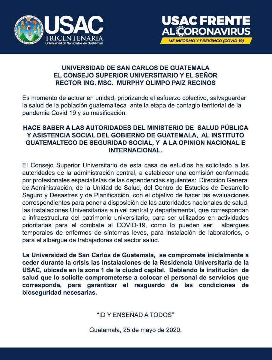 test Twitter Media - La @usacenlinea pone a disposición instalaciones de una residencia universitaria en la zona 1 capitalina, para el personal de salud. https://t.co/zIfKGqzjIF