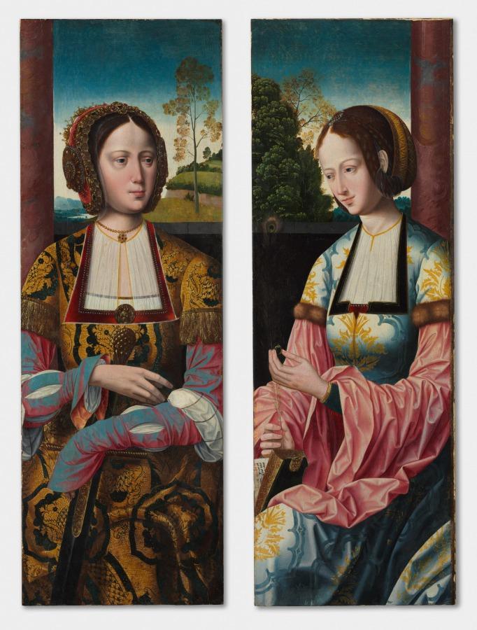 Saint Catherine and Saint Barbara (pair), Master of the Holy Blood, c. 1520  #clevelandartmuseum #MedievalArt