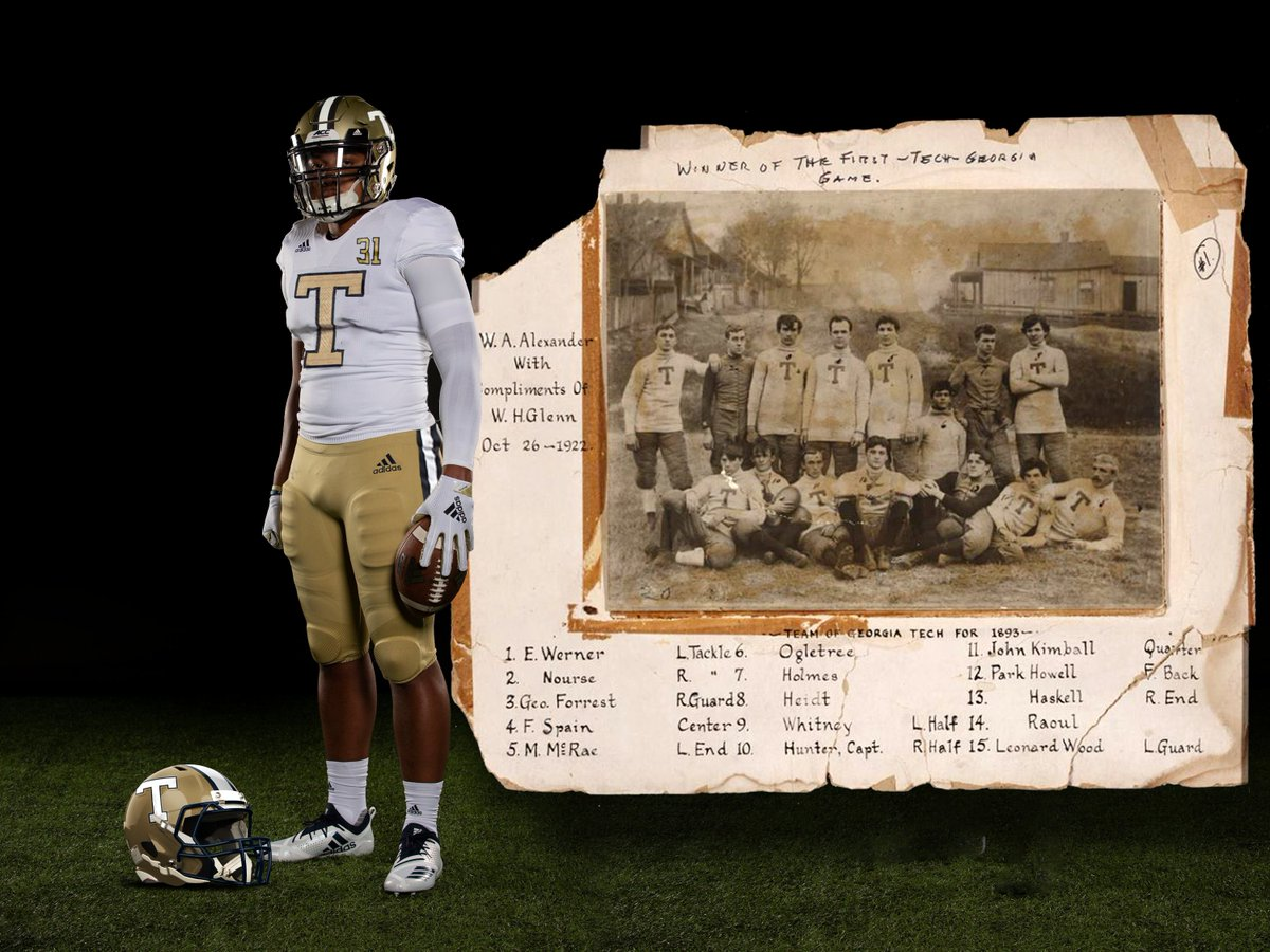 As requested by @WestStandsGT, here is my mockup of a Fauxback 1893 design. In 1893, Tech wore a gold T on white shirts as they beat Georgia in the first ever series matchup. I had to make up things such as the helmet, but tried to remain true to the design. #4the404