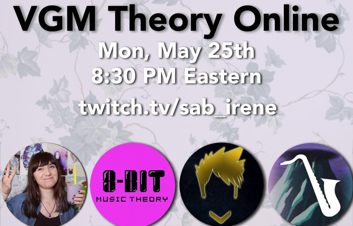 Doing another VGM Theory stream tonight with  @sab_irene, @8bitMusicTheory, and @insanerainmusic over on http://twitch.tv/sab_irene! Today we'll be analyzing in detail some of the most interesting video game pieces!pic.twitter.com/E4OGJUWOuG