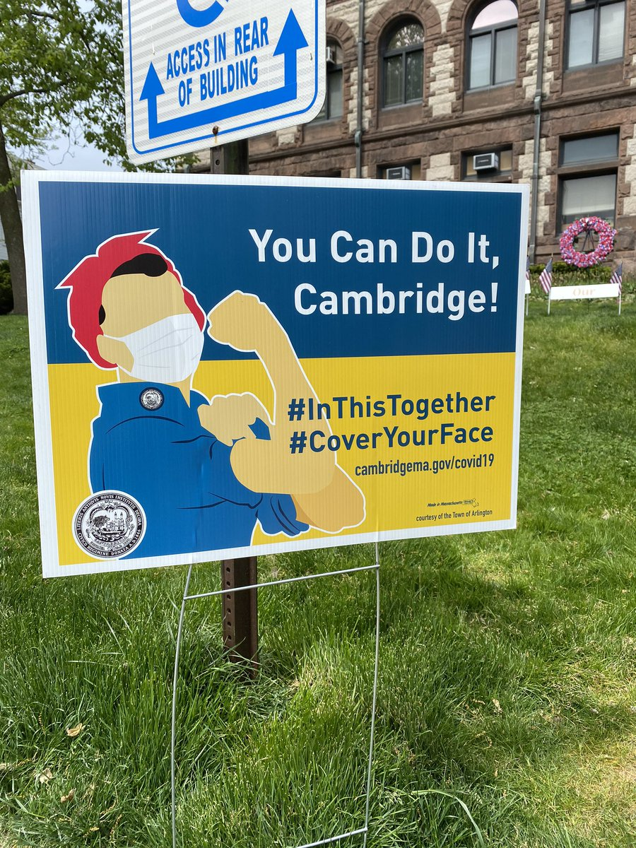 Loving these new signs popping up all around #CambMA advising residents to wear masks! #InItTogether #YouCanDoIt #BeAHeroWearAMask 😷 https://t.co/5qrzpX4dpZ
