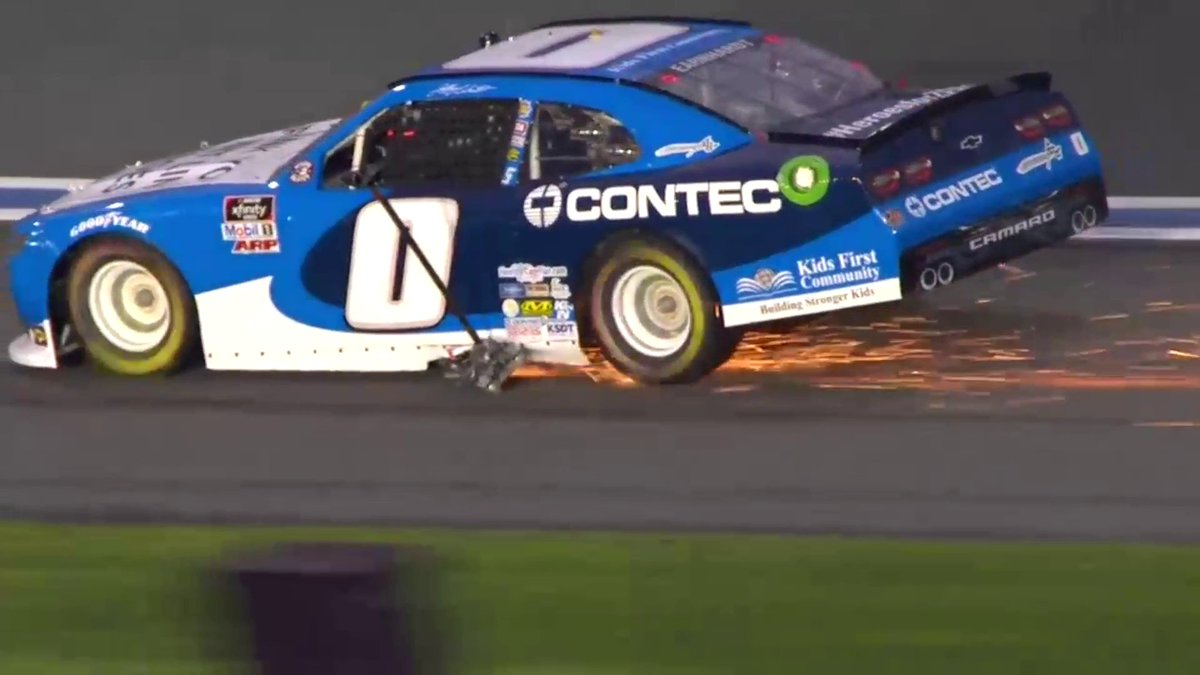 Jeffrey Earnhardt's jack decided tonight was the night to become a race car. Chase your dreams, people.