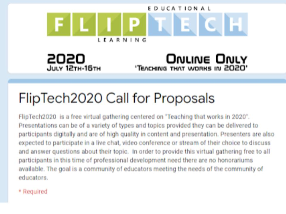 If you have some great ideas you want to share. Something that worked for you meeting students needs? We would love to have you as a presenter as well. the folks that follow #flipclasschat and #flipclass are some of the most creative people docs.google.com/forms/d/e/1FAI…