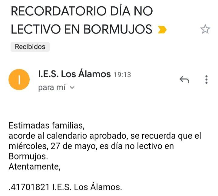 Información del @IESLOSALAMOS de #Bormujos sobre el festivo local del próximo miércoles 27 de mayo. Echaremos de menos las Carretas 😥😥😥, aunque #YaQuedaMenos https://t.co/p6nyTurZGM