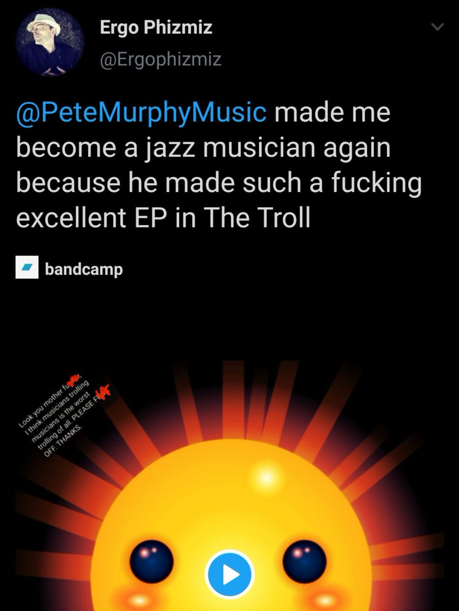 When one of your favourite musicians in this world, that world, and all of the other worlds, says nice things about your music..  #ErgoPhizmiz #PeteMurphyMusic #AvantFunk #AvantGardeMusic #ExperimentalMusic  #IndependentMusician  #WeirdoMusic #MusicForMentalHealth https://t.co/WTLduI71gp