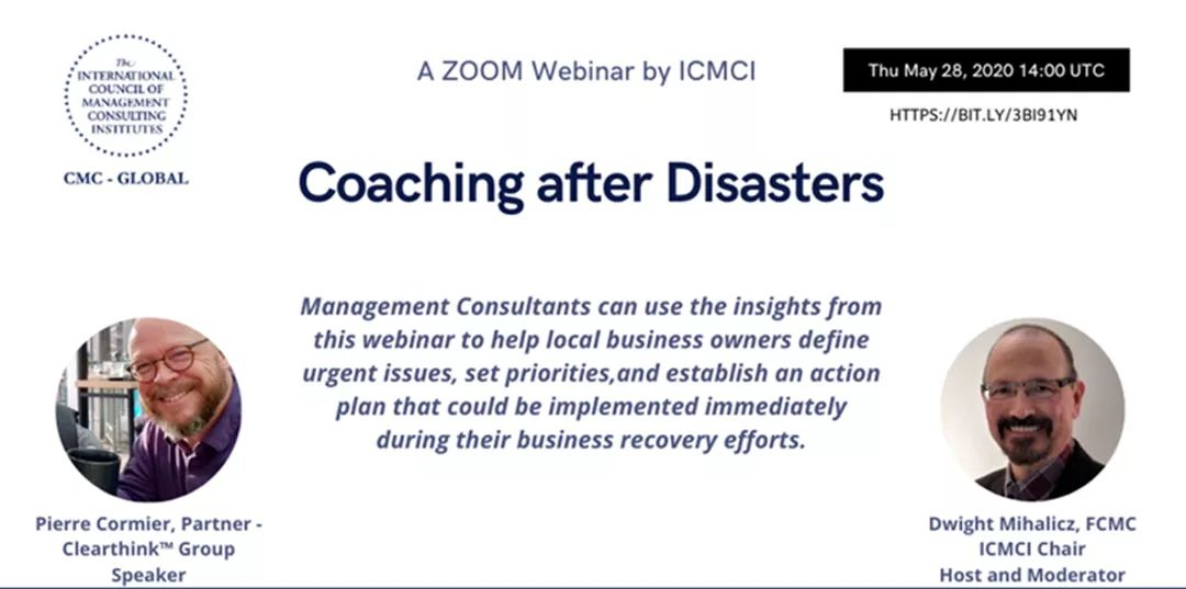 Coaching after Disasters!  Mark your at 28th of May. This webinar is dedicated to all IMCs, CMCs, and MCs. Session Two: Thursday May 28th @ 14:00 UTC - registration at: https://bit.ly/3bI91Yn #ICMCI #webinar #coaching pic.twitter.com/svxY6aII9x