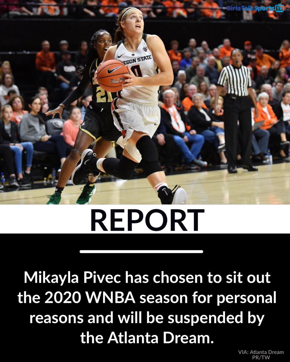REPORT:  Mikayla Pivex will sit out for the 2020 @WNBA season due to personal reasons, and will be on @AtlantaDream's suspended list.   [VIA: Atlanta Dream PR/TW]   #wnba #atlantadream https://t.co/uUr1ab89ta