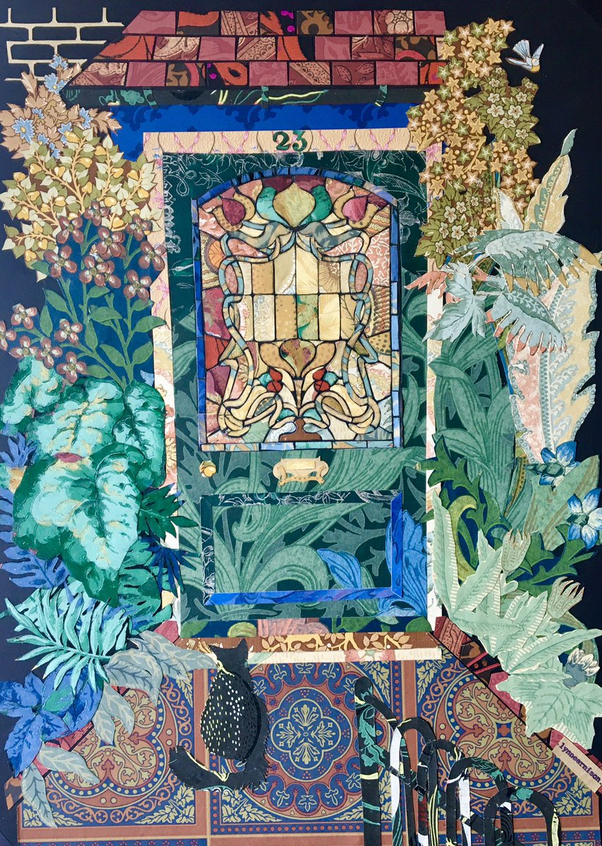 #Collage created from bits of wallpaper saved from past n previous homes for #GraysonsArtClub for Home topic of my front door n my cat on the path. Used wallpaper for artwork before but never one entirely from it. Found it very therapeutic and immersive.pic.twitter.com/PNLUzTh8o8