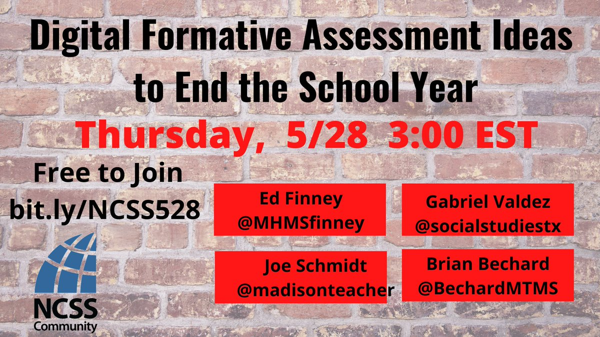 Join @socialstudiestx @madisonteacher @MHMSFinney @BechardMTMS @TechNCSS For a free interactive webinar about our formative assessment tools. Thursday, 5/28 at 3:00 EST Join link bit.ly/NCSS528