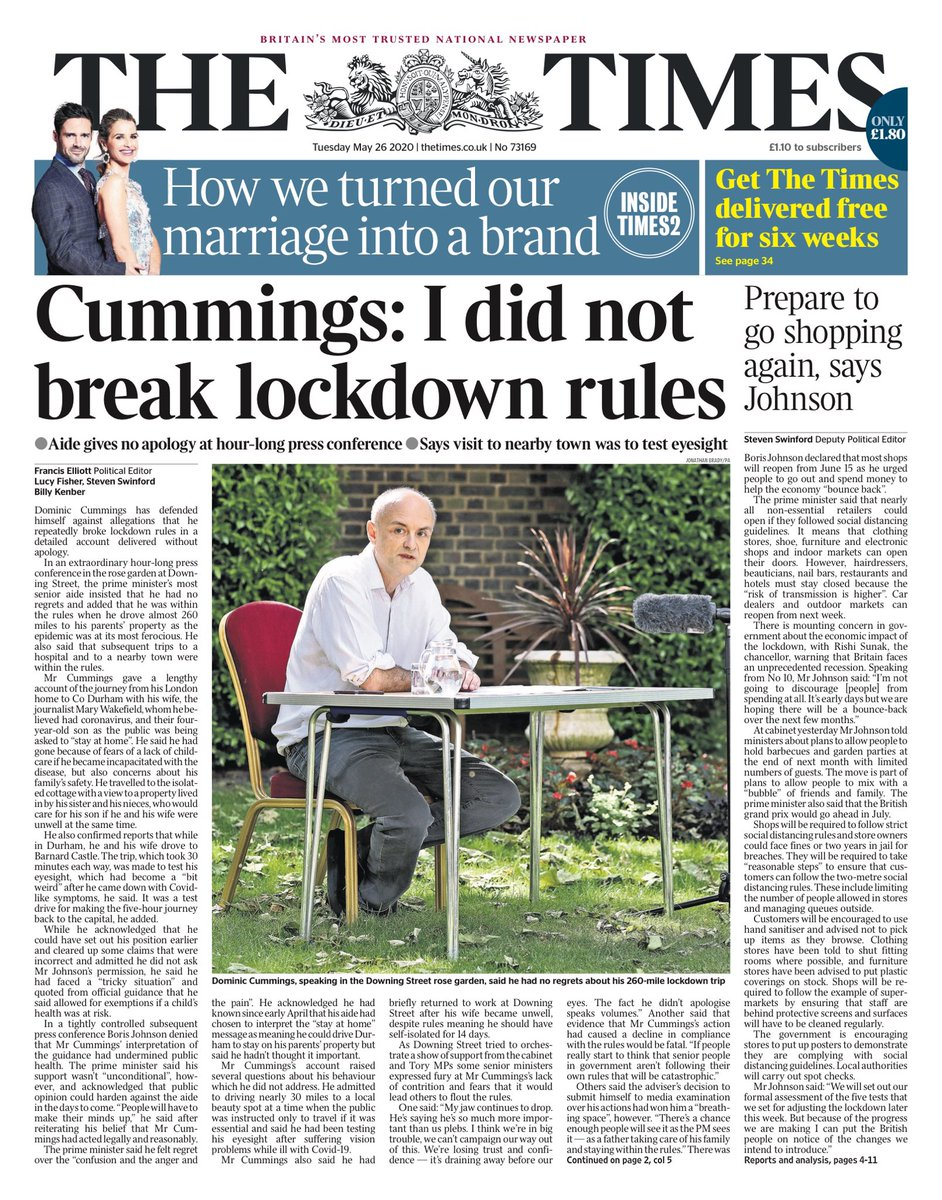 Tuesday's Times: Cummings: I did not break lockdown rules #tomorrowspaperstoday #bbcpapers (via @BBCHelena)