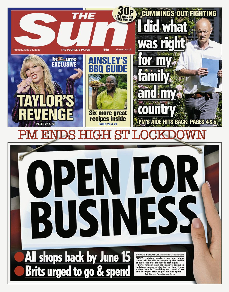 Tuesday's Sun: Open for business #tomorrowspaperstoday #bbcpapers (via @BBCHelena)