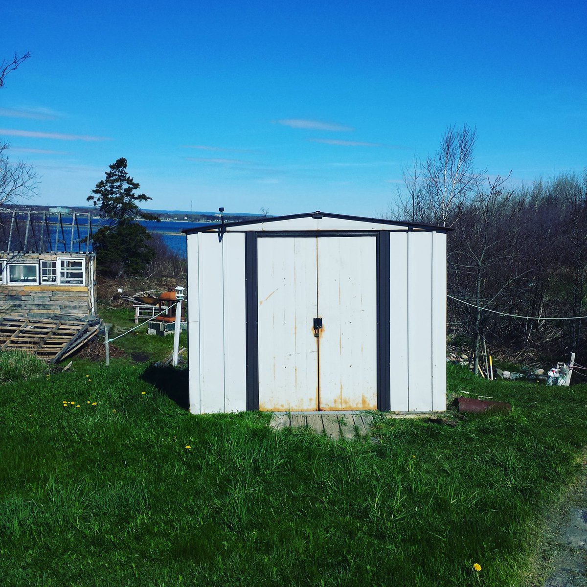 No #update on the #driftwood / #pallet #shed today because I decided to #tackle our very #rusty beige #metal shed. Here's some #pictures #photos of the sheds' #transformation from #drab to #fab #painting #DIY #youcandoit