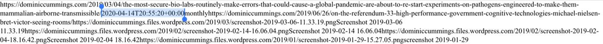 """MORE: info on Way Bank machine internet archive corroborated by info on actual blog sitemap -hat tip @martbrow @exactlyaron and @jonwilliams80 edit that added """"coronavirus"""" quote made """"2020-04-14 T20:55:20"""" So same day he returned to work, after Durham dominiccummings.com/sitemap.xml"""