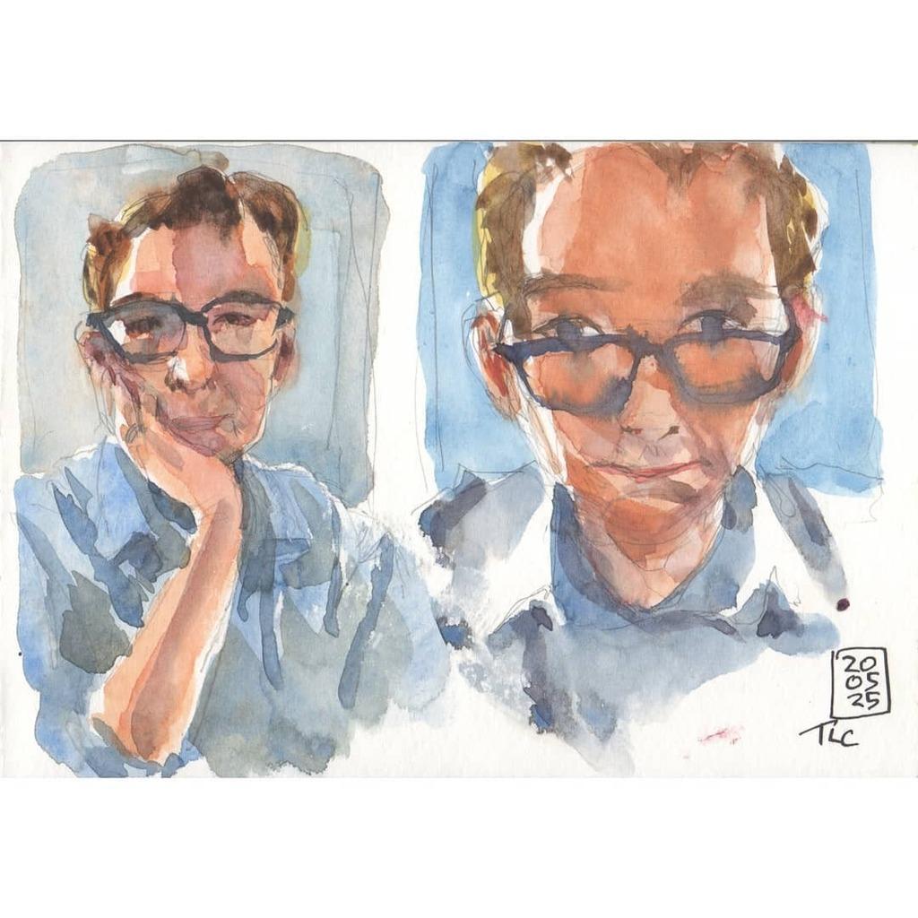 Practicing loose portraits- selfies from live iPad camera. DaVinci Watercolor and mechanical pencil in @strathmoreart 400 series Watercolor sketchbook. - #selfie #selfportrait #Watercolor #aquarelle #artistsofinstagram #artofvisuals #artwork #davincipain… https://instagr.am/p/CAoEwAjHAmj/pic.twitter.com/xIwR2TcflJ