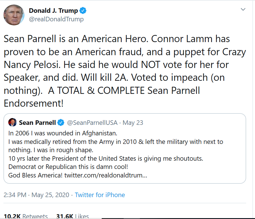 In addition to a) misspelling Conor b) misspelling Lamb c) going after a veteran on Memorial Day as an American fraud, the president d) falsely claimed Lamb voted for Pelosi as speaker. Lamb kept his promise not to do so, voting instead for Joe Kennedy.