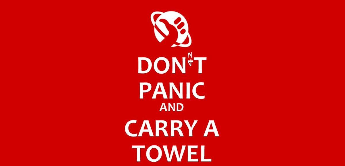 Happy Towel day!  #TowelDay #DouglasAdams #hitchhikersguidetothegalaxy  #CarryTowel #DontPanic https://t.co/ziCdTfGG1T