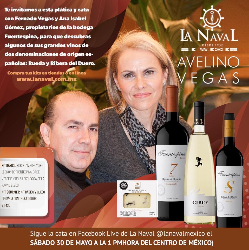 Este sábado conoce más de  @DORibera y @DORueda en España  a través de los vinos de @VinoFuentespina   Fernando Vegas y Ana Isabel Gómez guiarán la cata  y adquiere tus kits en http://www.lanaval.com.mx Información en imagen  #catavirtual #LaNavalEventos #TomaElTimonpic.twitter.com/yumA58YptJ