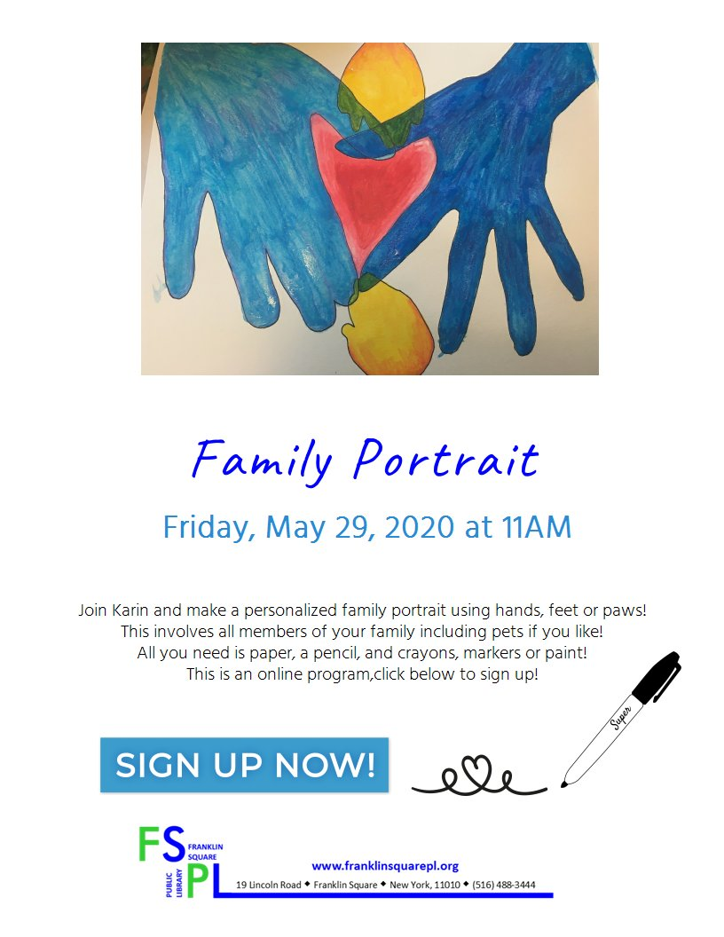 Here's a fun program that's coming up this week! Friday, May 29, 2020 at 11AM.  Register here: http://www.eventkeeper.com/code/ekform.cfm?curOrg=FSPL&curID=436673… #familyportrait #artsandcrafts #familyfun #Friday #librarytwitter #LibrariesFromHome #libraryprograms #librarytwitter #librariesathomepic.twitter.com/CrRZN4KmFD