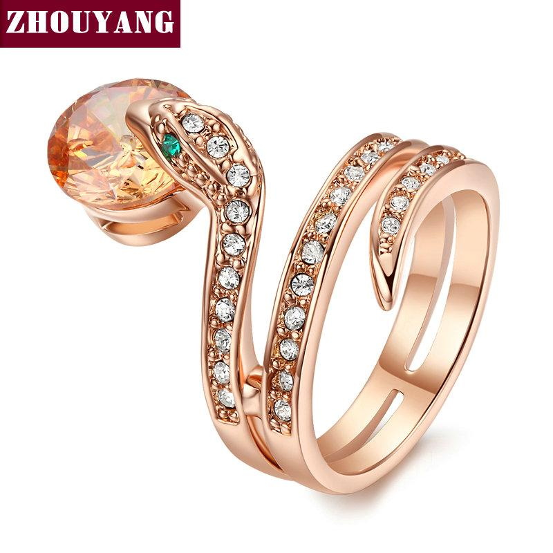 Rose Gold Austrian Crystals Snake Show Bead Ring for Party Wear! Buy here  #jewelryph #jewelrytrends