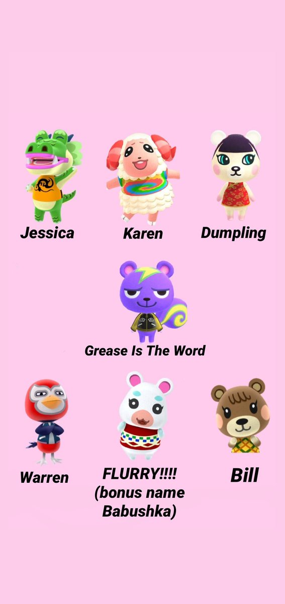 animal crossing characters and their names