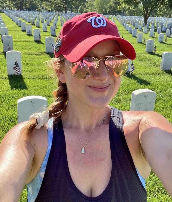 This is Emily Domenach. Because of #Covid, Arlington National Cemetery is closed except for family members. So she spent the day visiting fallen loved ones for everyone who tweeted her. She even left flowers and cleaned their tombstones. (via @Goodable)