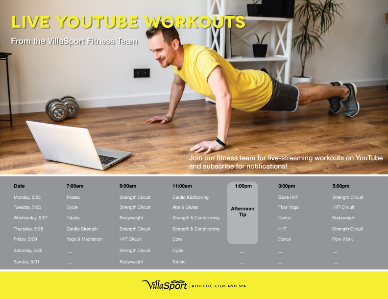 Continue to enjoy VillaSport from the comfort of your home with our live #HomeFitness  series on YouTube. Check out this week's schedule! pic.twitter.com/Q8h82HcQav