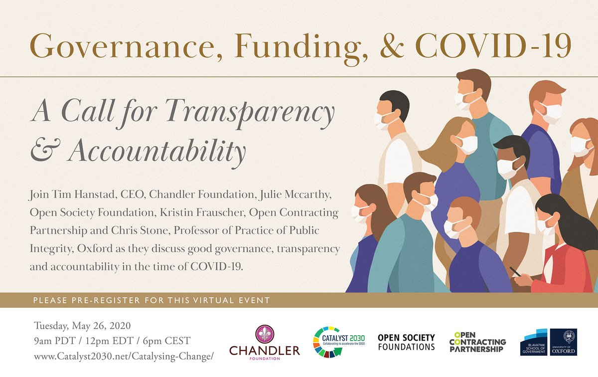 Please join @ChandlerFdn @OpenSociety @opencontracting & @BlavatnikSchool on Tues, May 26 for discussion on Governance, Funding, & COVID-19