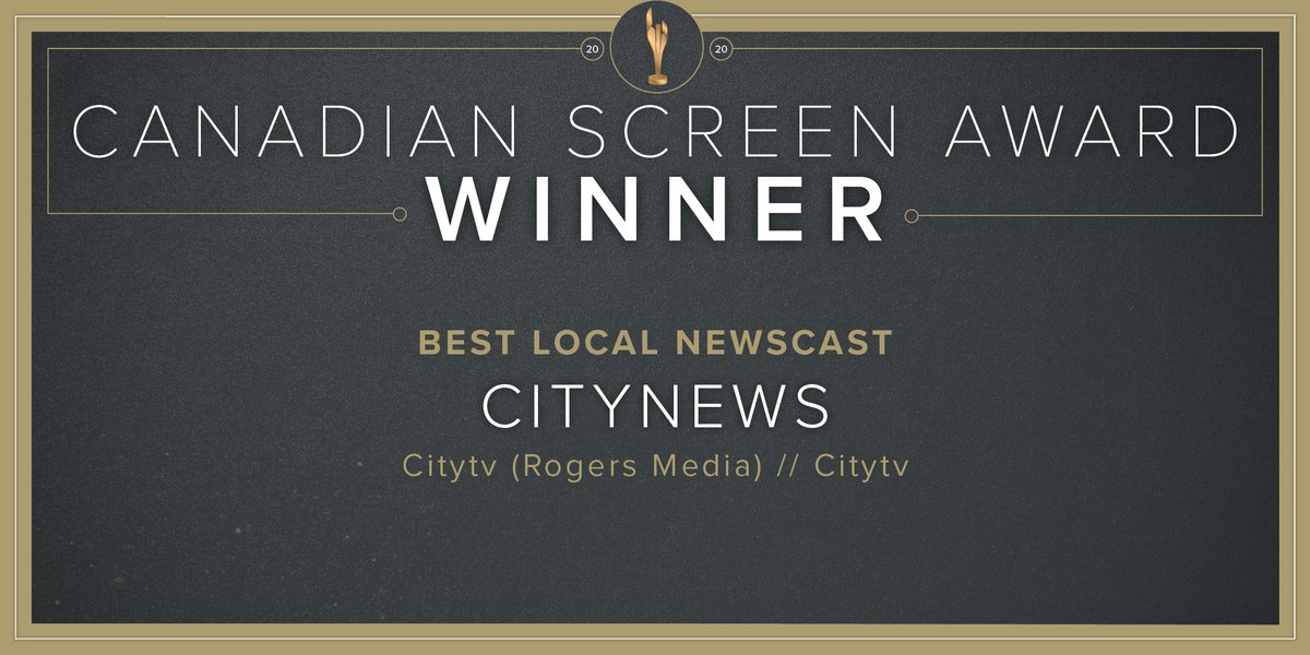 Congratulations to the team behind @CityNews, @City_tv, @RogersMediaPR, winners of Best Local Newscast. Congratulations #CdnScreenAwards. https://t.co/UYdsrnIQBs