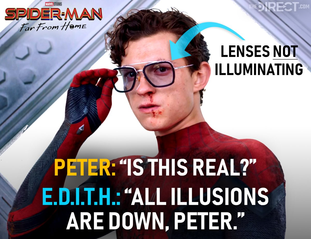 The absence of illumination from E.D.I.T.H. at the very end of #SpiderManFarFromHome's Tower Bridge battle is just one piece of evidence that suggests #Mysterio's death was not what it seemed to be... Full breakdown of evidence:  https:// thedirect.com/article/how-my sterio-evaded-death-itself-in-spider-man-far-from-home   … <br>http://pic.twitter.com/oQqCSE5ckL