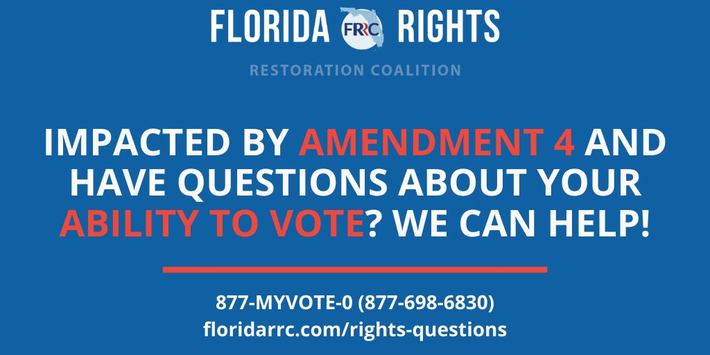 We know that yesterday's court ruling has left many of you with questions about your ability to vote. #FRRC can help! Call our hotline at 877-MYVOTE-0 or visit our website to get your questions answered. floridarrc.com/rights-questio… #letmypeoplevote #ourvote #ourvoice #ourtime