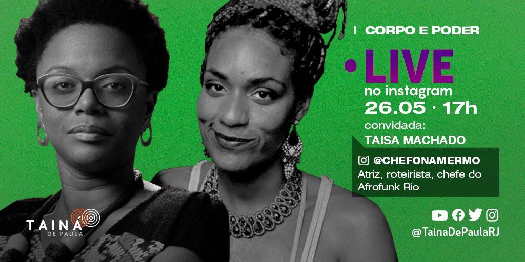 Nesta terça-feira (26/05), às 17h, vou conversar com Taisa Machado sobre corpo e poder!   Nosso encontro vai rolar lá no Instagram! Venham!   #empoderamentofeminino #mulheres #mulheresnegraspic.twitter.com/uFO0Fet3ZP
