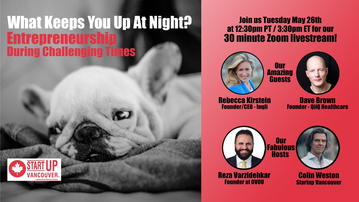 Join us tomorrow at 12:30pm PT for our next engaging #WhatKeepsYouUpAtNight livestream show!  Registration is free, but please make a donation as proceeds go to @jackdotorg supporting youth #mentalhealth advocacy.⬇️  https://t.co/zMknzuyaVG  @nvbc @VanEconomic @SFUVentureLabs https://t.co/aH3X6LiEPS