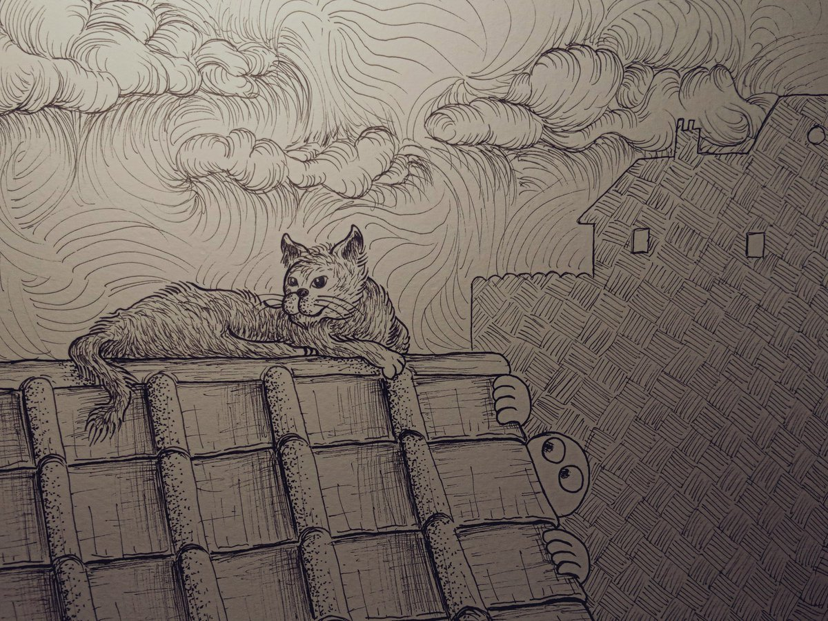 Cat on a roof #inking #cats #rooftop pic.twitter.com/0wPAq8xWM3